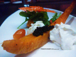 fried pumpkin with goat cheese foam salad with balsamic caviar and cherry tomato confit